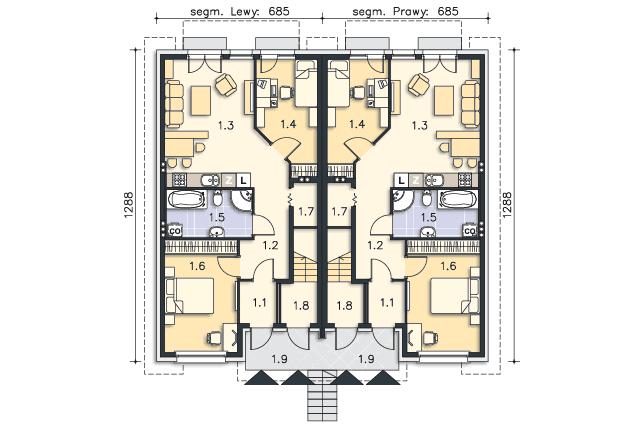 Zobacz powiększenie rzutu kondygnacji Parter - projekt Everett II