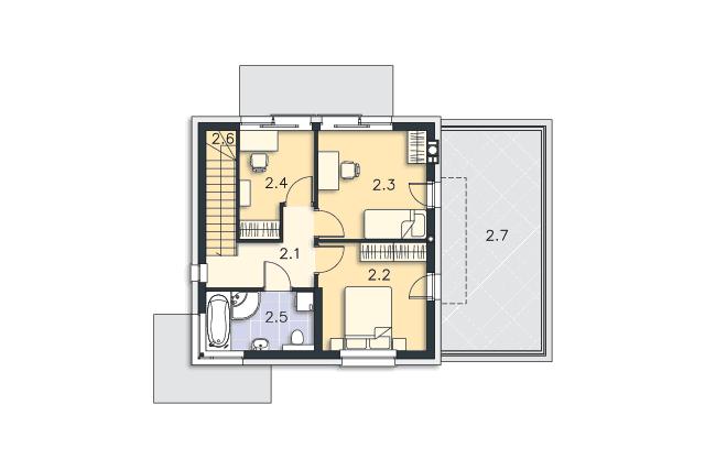 Zobacz powiększenie rzutu kondygnacji Piętro - projekt Edynburg