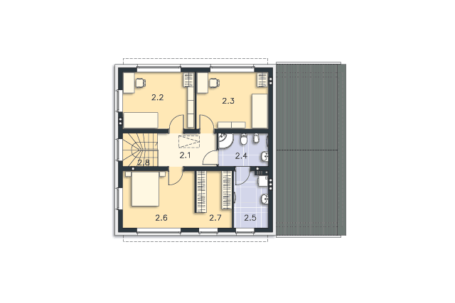Zobacz powiększenie rzutu kondygnacji Piętro - projekt Skagen II
