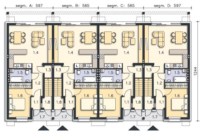 Zobacz powiększenie rzutu kondygnacji Parter (mieszkanie 1) - projekt Belfort