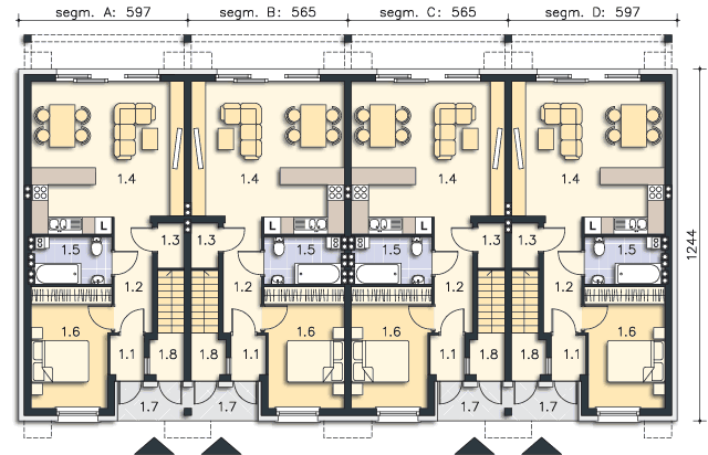 Rzut kondygnacji Parter (mieszkanie 1) - projekt Belfort