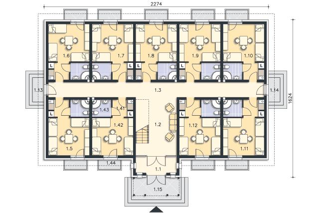 Zobacz powiększenie rzutu kondygnacji Parter - projekt Budynek agroturystyczny Ambrowiec