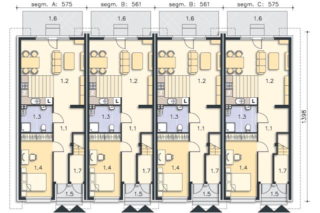 Rzut kondygnacji Parter (mieszkanie 1) - projekt Bendigo