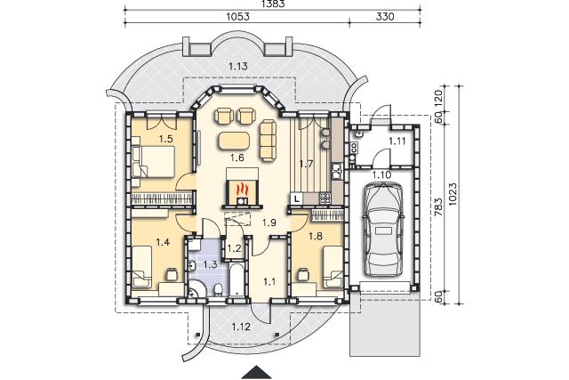 Rzut kondygnacji Parter - projekt Sofia IV w.drewniana